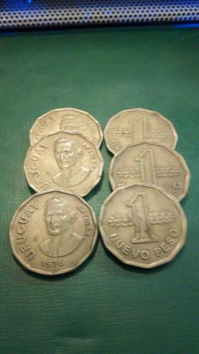 6 monedas de bronce n$ 1  ( 1976/77)