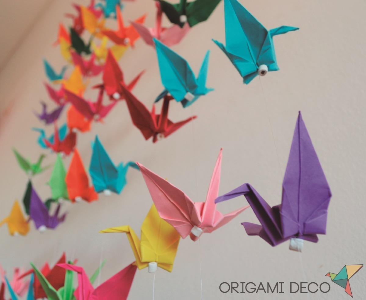 6 Móviles Grullas 5 Grullas Sueltas Origami Decoración