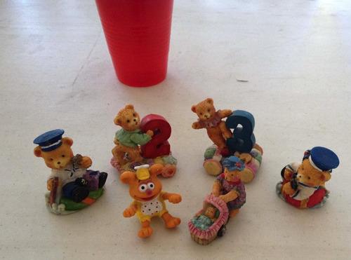 6 osos de ceramica pintada a mano 5cms de altura