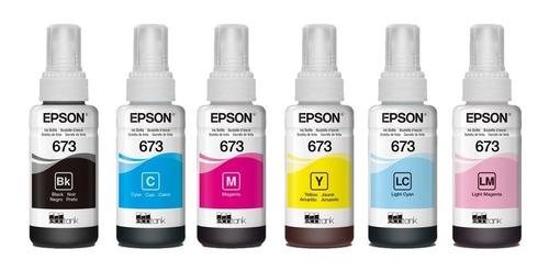 6 pack botella tinta epson t673 ecotank l805 l810 l850 l1800