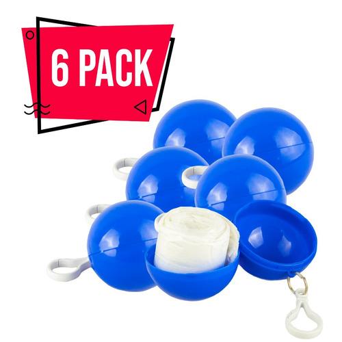 6 pack impermeable portátil bolsillo azul lluvia llavero