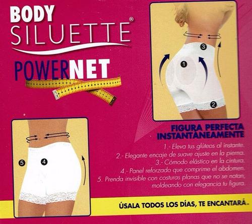 6 pantys faja bóxer power net body siluette alto control