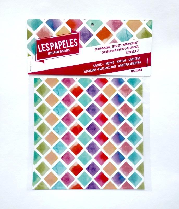 6 Papeles 15x15 Brillantes Diseno P Decorar Carton O Madera 40 - Papeles-de-decoracion