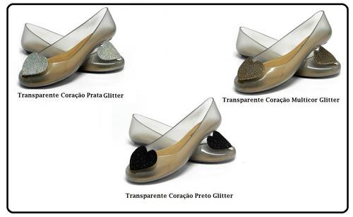 6 pares sapatilha transparente coração glitter