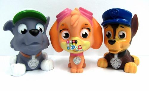 6 paw patrol muñecos c/luz irrompibles de goma + cartas