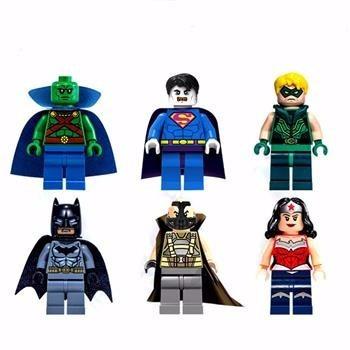 6 pcs super héroes, mujer maravilla compatible con lego