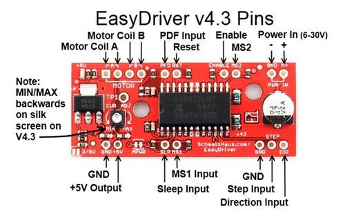 6 peças easydriver a3967 controlador motor passo  cnc 3d