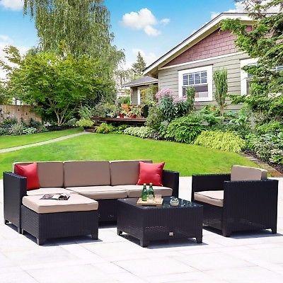 6 Pieza Rota Mimbre Muebles Jardín De Patio Al Aire Libre - $ 3.921 ...