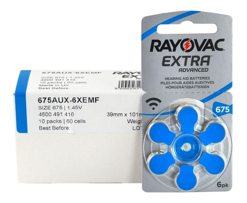 6 pilas audifono rayovac extra advanced nro 675 pr44 1,45v