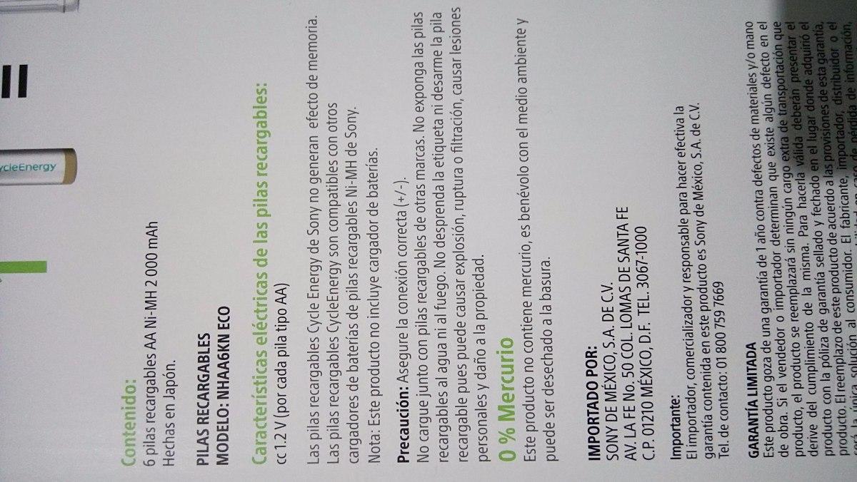 6 pilas recargables aaa sony cycleenergy 1 gratis 550 - Pilas recargables aaa ...