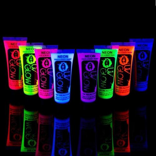 6 pintura facial neon luminosa uv body paint luz negra glow