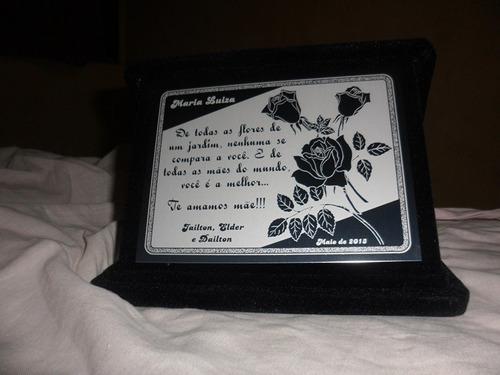 6 placa de homenagem em aço inox com estojo de veludo