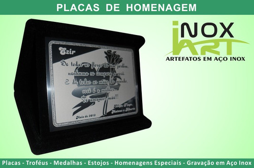 6 placa de homenagem em aço inox e estojo de veludo - 13x09