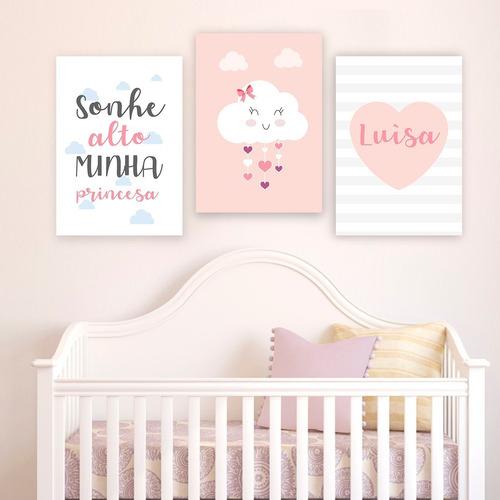 6 placas decoração infantil quarto bebe nuvem chuva de amor