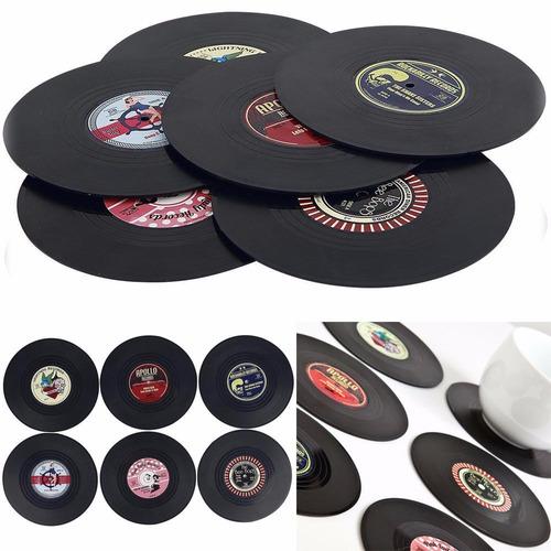 6 posavasos discos de vinilo cd retro original caja regalo