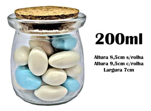 6 pote vidro tampa rolha cortiça 200ml lembrancinha tempero