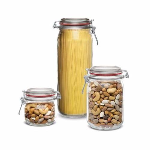 6 potes herméticos de vidro bonito - resistente + brinde