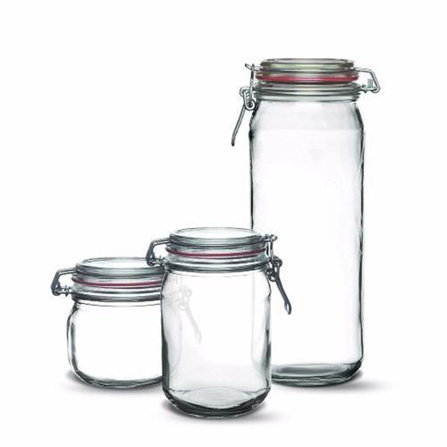 6 potes herméticos de vidro c/ borracha de vedação + brinde