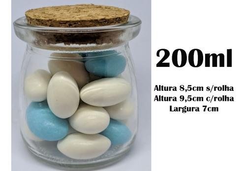 6 potes vidro tampa rolha cortiça 200ml lembrancinha tempero
