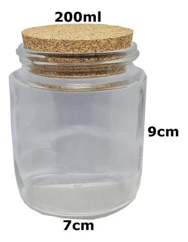 6 potes vidro tampa rolha cortiça 200ml tempero condimento