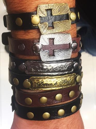 6 pulseiras couro  masculina feminina atacado reveda top
