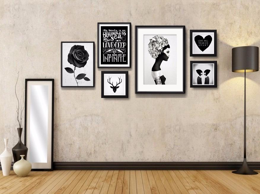 6 quadros wall love hipster preto branco decoracao sala for Decoracao sala de estar quadros
