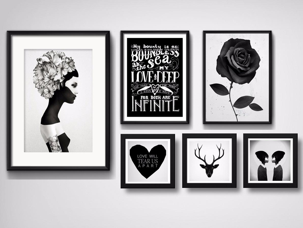 6 quadros wall love hipster preto branco decoracao sala for Poster de pared grandes