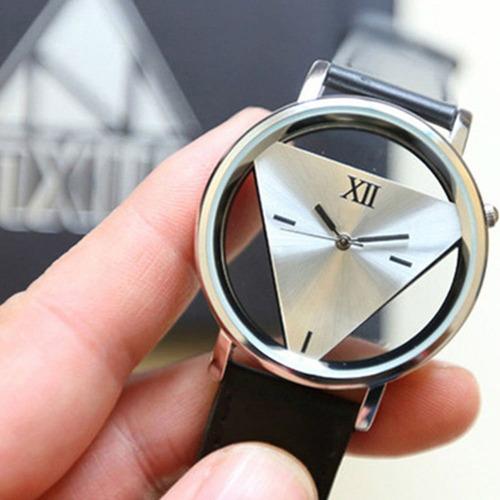 6 relógios casal masculino feminino mostrador triângulo