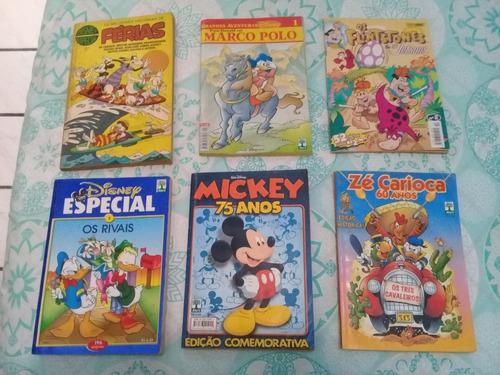 6 revistas por r$290,00. mickey,zé carioca,disney especial