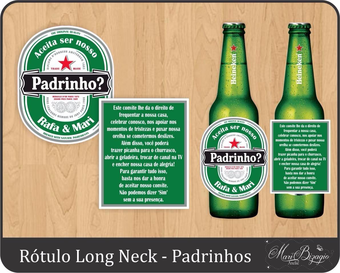6 Rótulos Personalizado Convite Padrinhos Long Neck Cerveja R 19