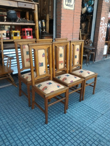 6 sillas de estilo roble macizo antiguas tapizado nuevo