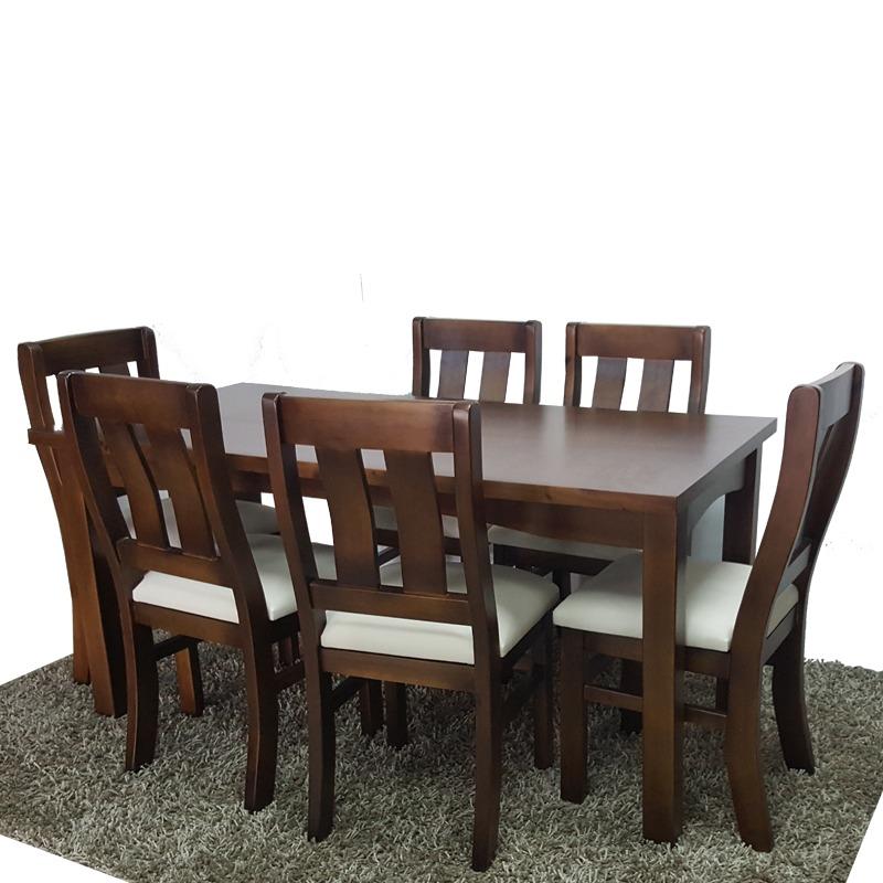 6 sillas y mesa para cocina y comedor en madera maciza gh for Sillas para mesa de comedor