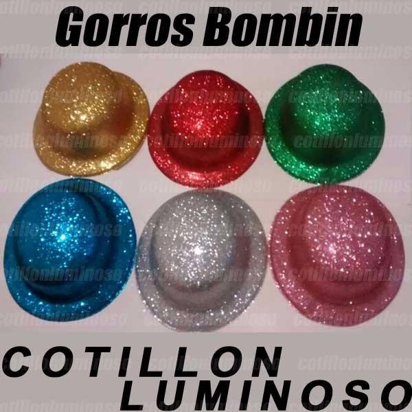 2d001ced496a7 6 Sombreros Gorros Bombin Brilloso Carnaval Cotillon Luminos -   159 ...