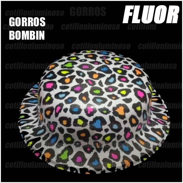 206b35c3de60b 6 Sombreros Gorros Bombin Fluor Carnaval Cotillon Luminos -   114