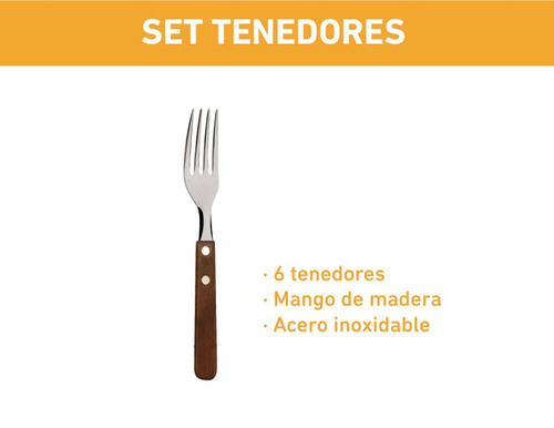 6 tenedores mango de madera acero inoxidable