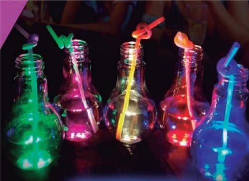 6 vasos luminosos lampara drink led + 6 sorbetes neón