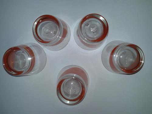 6 vasos vidrios transparentes detalle naranja, divertidos
