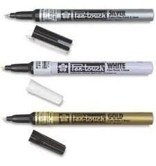 6 x caneta marcador permanente pen touch sakura 1mm ouro