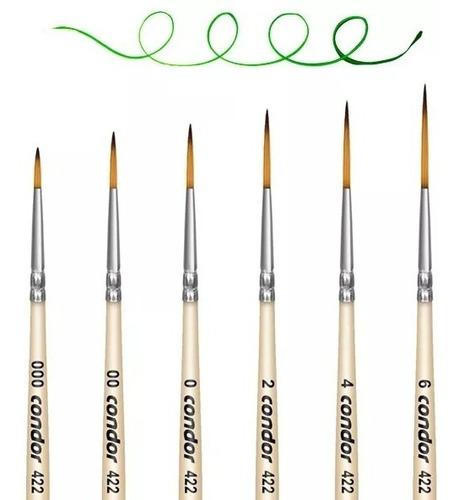 6 x kit pincel pelo sintético condor konex 422 - 000 ao 06