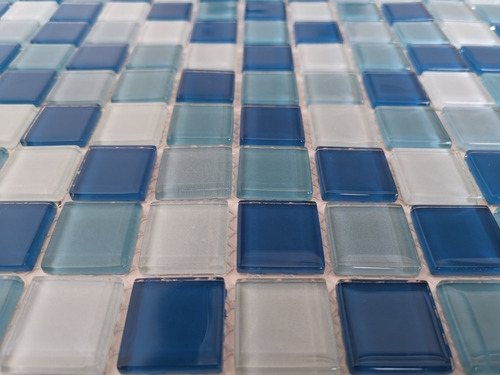 6 x malla mosaico decorativa cenefa en vidrio azul