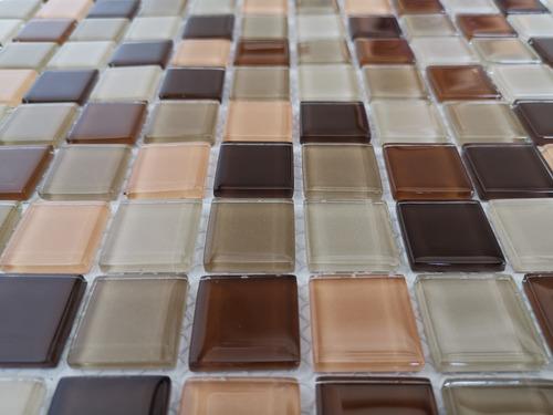 6 x malla mosaico decorativa cenefa vidrio moka cafe