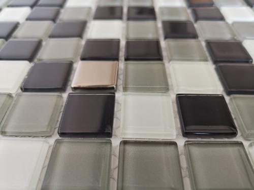 6 x malla mosaico decorativa cenefa vidrio negro y blanco