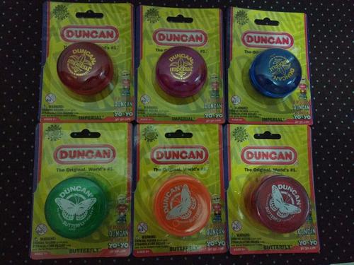 6 yoyos originales de marca duncan: 3 imperial y 3 mariposa