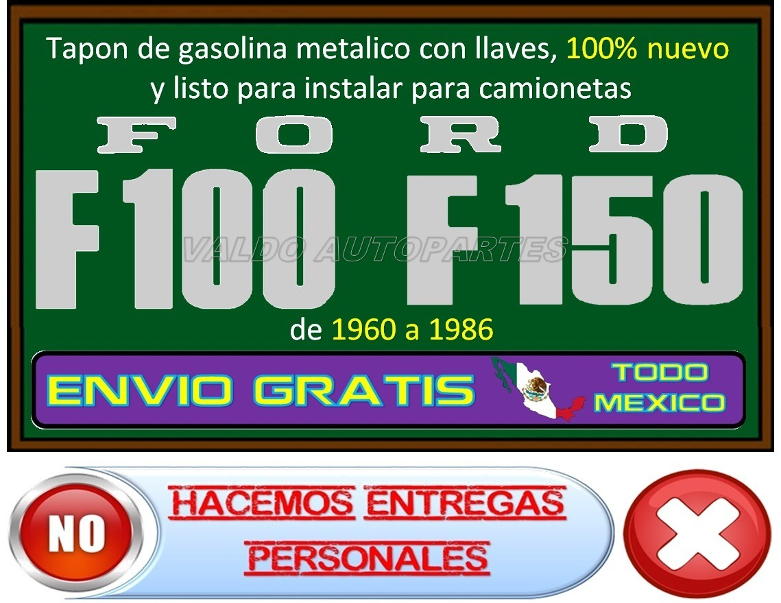 Ford F Pick Up Tapon Gasolina Metalico Con Llaves D Nq Np Mlm F