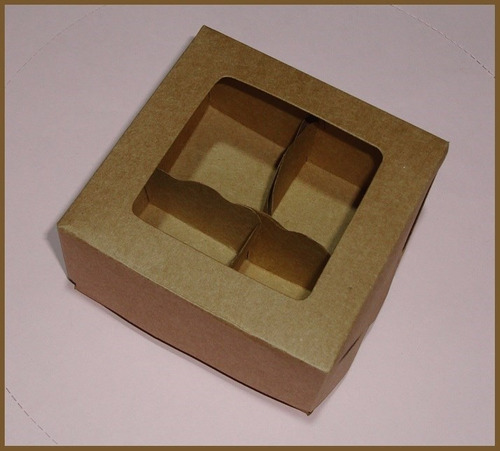 60 caixas/embalagens p/4 trufas/doces brancas ou kraft-