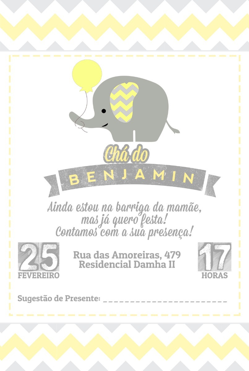 60 Convite Personalizado Chá Bebê Fralda Elefantinho Chevron R 38