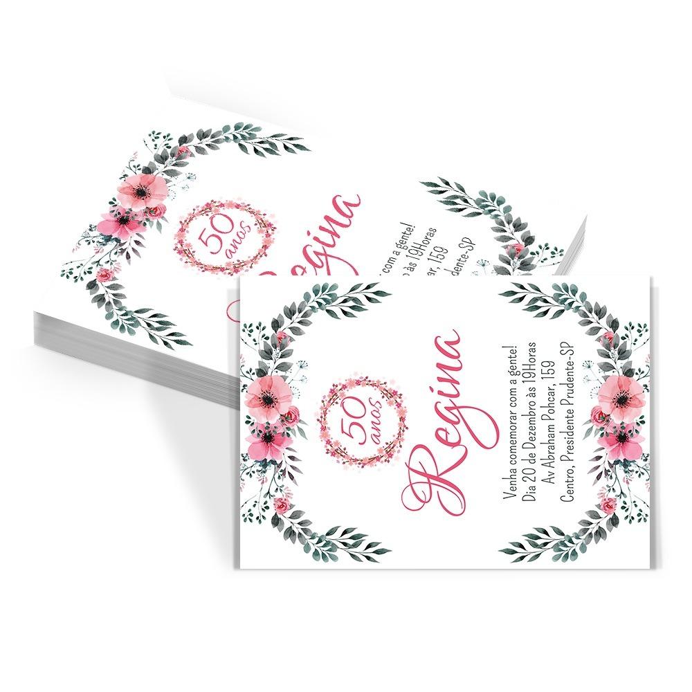 60 Convites Aniversário Adulto Florais Floral R 2999 Em Mercado