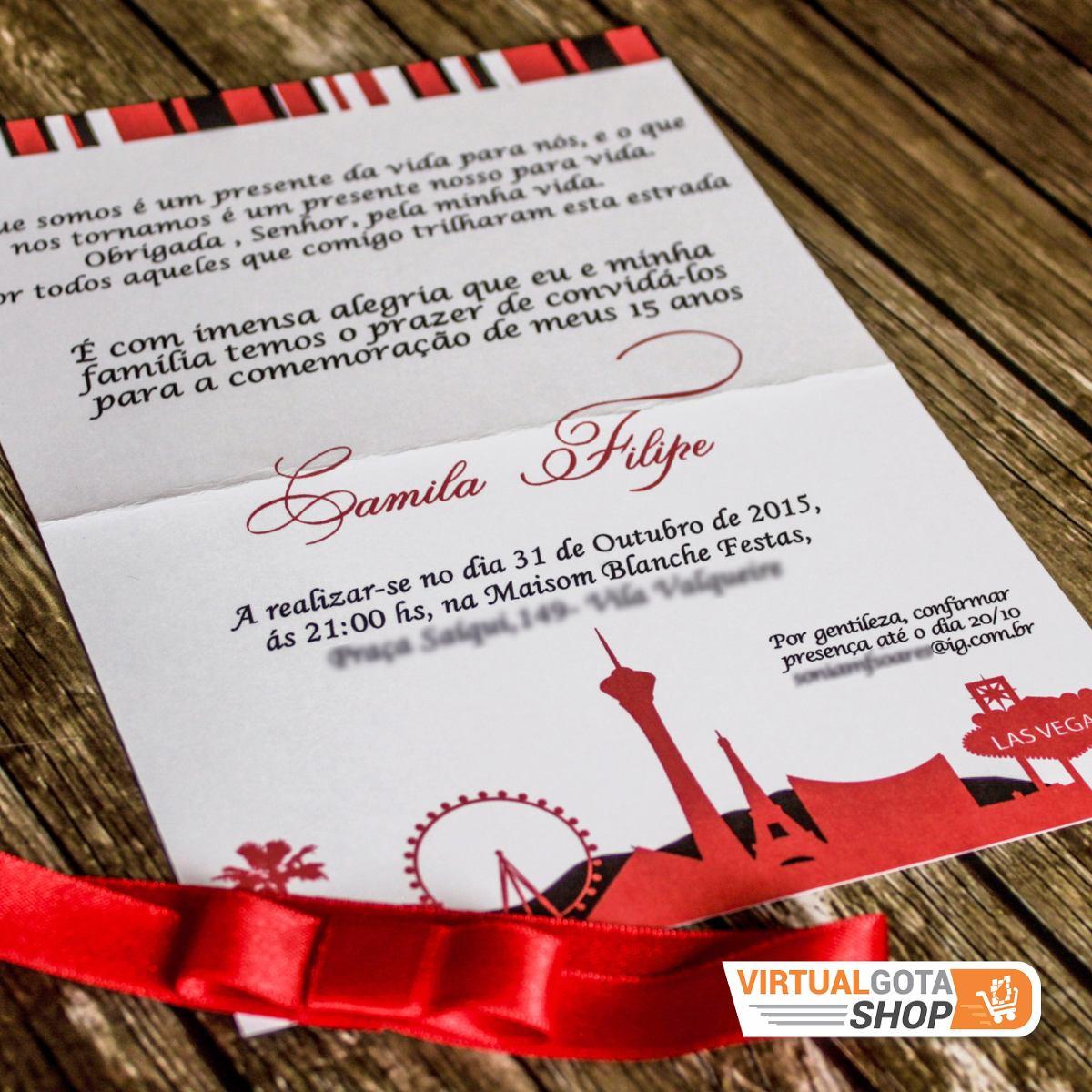 60 Convites De Aniversário Festa 15 Anos Las Vegas Debutante R