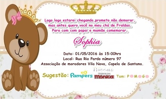 Tag Chá De Fraldas Convite Texto