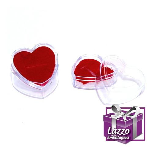 60 embalagem caixinha coração para anel atacado tran vermelh